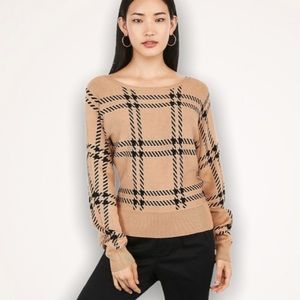 EXPRESS Camel Plaid Dolman Sleeve Sweater